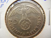 Germany 5 silver marks 1937 F Stuttgart mint silver coin with swastika