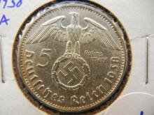 Silver 5 Mark coin Berlin Mint 1938-A with swastika German third Reich coins