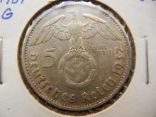 5 mark German swastika coin 1937 g Karlsruhe mint