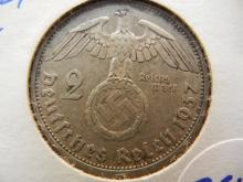 Silver 1937a Berlin mint 2 mark coin with swastika Third Reich coin