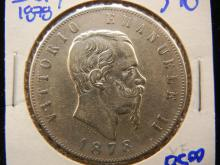 Italian 5 lires coin dated 1878 silver dollar sized. This coin books for $90