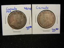 1908 and 1917 Newfoundland silver half dollars