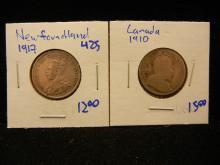 1917 Newfoundland quarter plus 1910 quarter