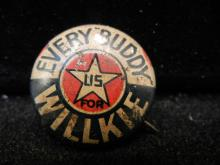 Every Buddy versus Wendell Wilkie political pin back