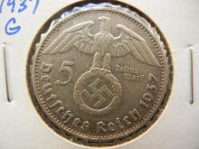 1937-G Silver German 5 Mark