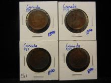 1884, 1888, 1901, & 1918 Canadian Large Cents