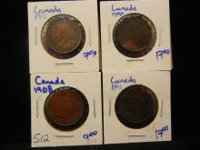1891, 1898, 1908, & 1911 Canadian Large Cents