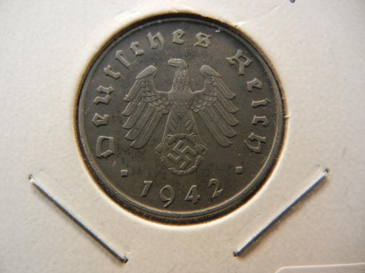 1942-A Germany 10 Pfennig.  Almost Uncirculated.  Berlin Mint.