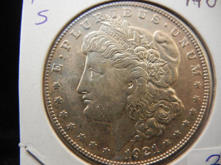 1921-S Morgan Dollar.  Almost Uncirculated.  Proof like.