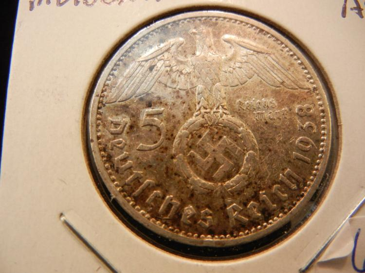 1938 E Germany 5 Mark silver.  Almost Uncirculated.  Muldenhutten mint.