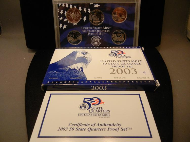 2003-S Set of Proof Quarters.  IL, AL, ME, MO, and AR.  GEM Proof in government package.