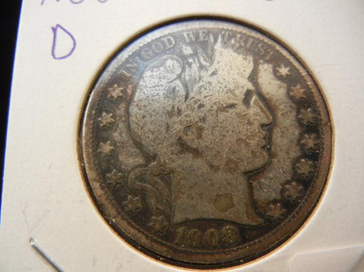 1908-D Barber Half Dollar. Good