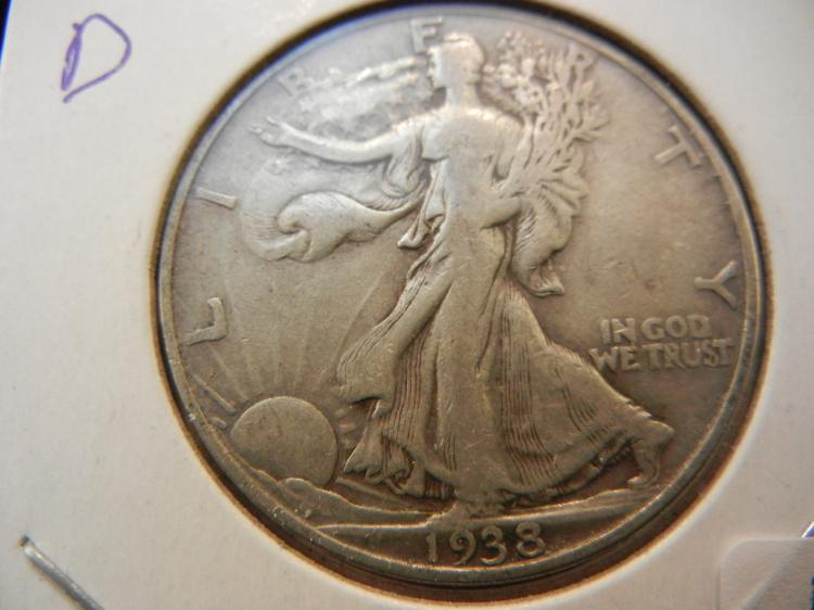 1938-D Walking Liberty Half Dollar.  Very Fine.  A KEY date.