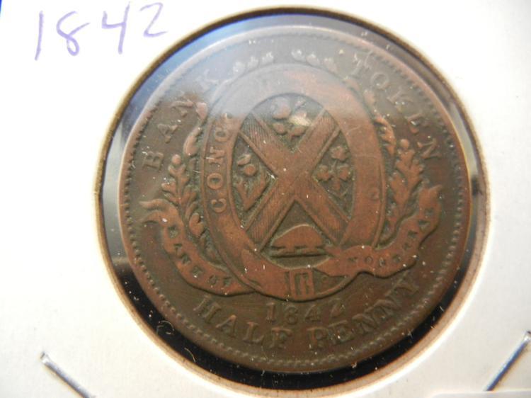 1842 Canada Half Cent Token. Montreal.