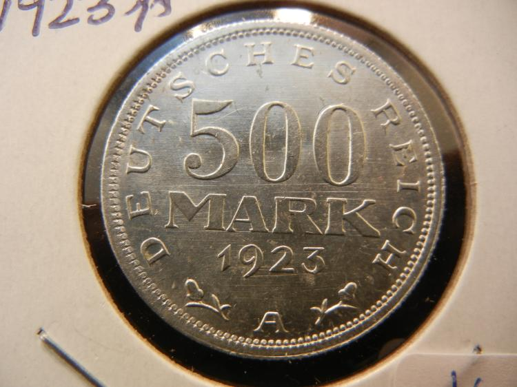 1923 A Germany 500 Mark.  Brilliant Uncirculated.  Berlin Mint.