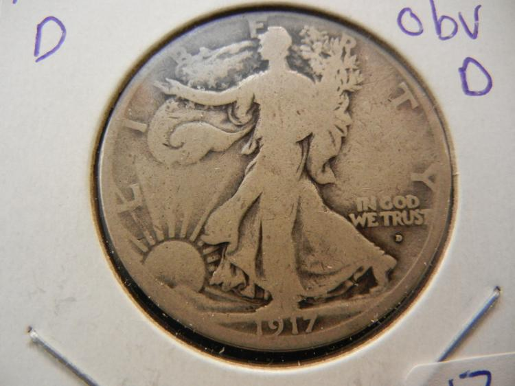 1917-D Walking Liberty Half Dollar.  Semi-Key.  Obverse D.