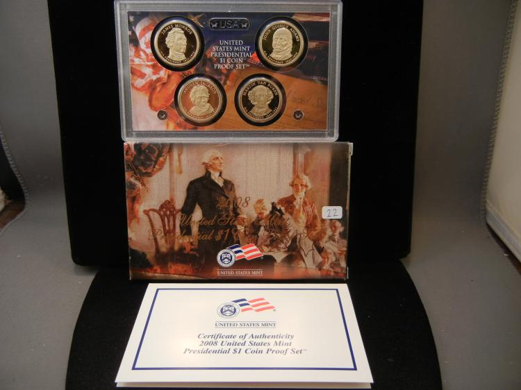 2008-S Presidential Dollar Proof Set in government package.