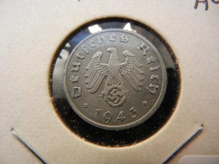 1943-A Germany 1 Pfennig. Almost Uncirculated. Berlin mint.