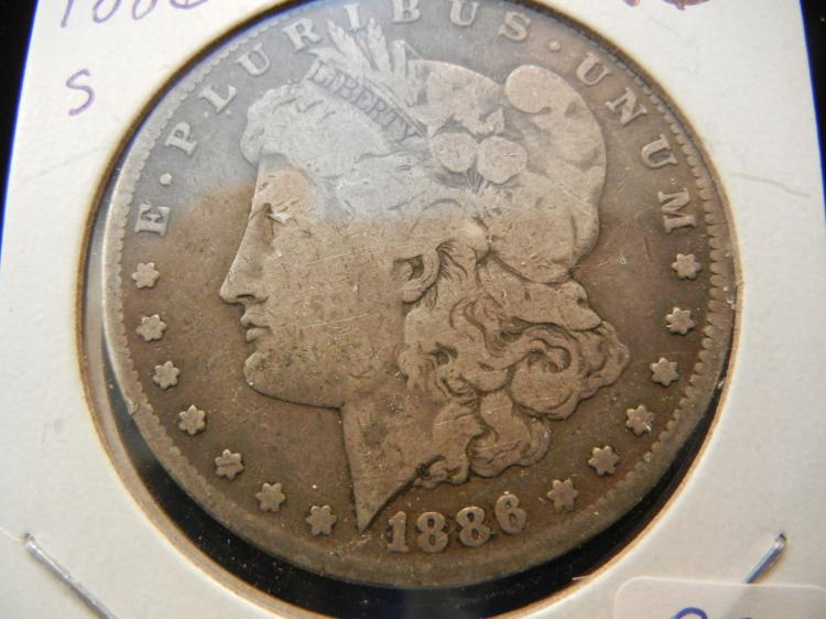 1886-S Morgan Dollar.  Very Good and original Tough Date.  US Centennial.