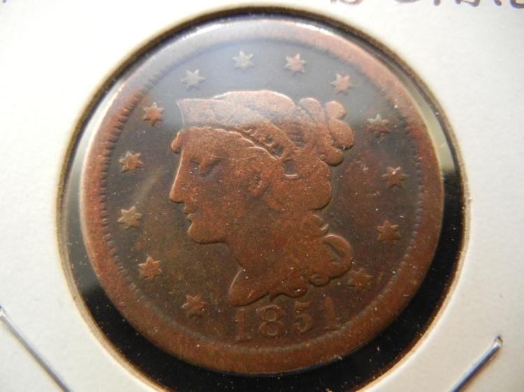 1851 Large Cent.  Very Good detail.