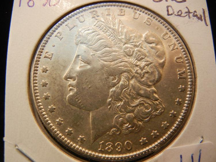 1890 Morgan Dollar.  Uncirculated detail.