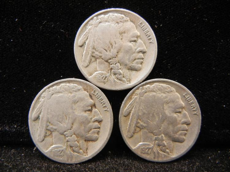 1927- P, D, & S Buffalo Nickels