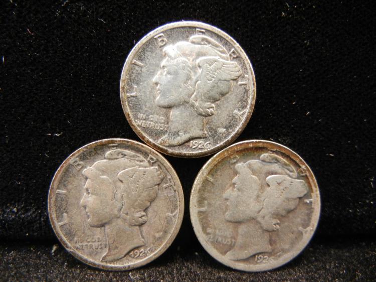 1926 P, D & S Mercury Dimes