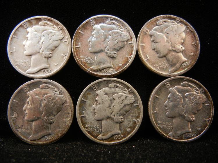 1936 P,D & S Also 1937 P,D & S Mercury Dimes
