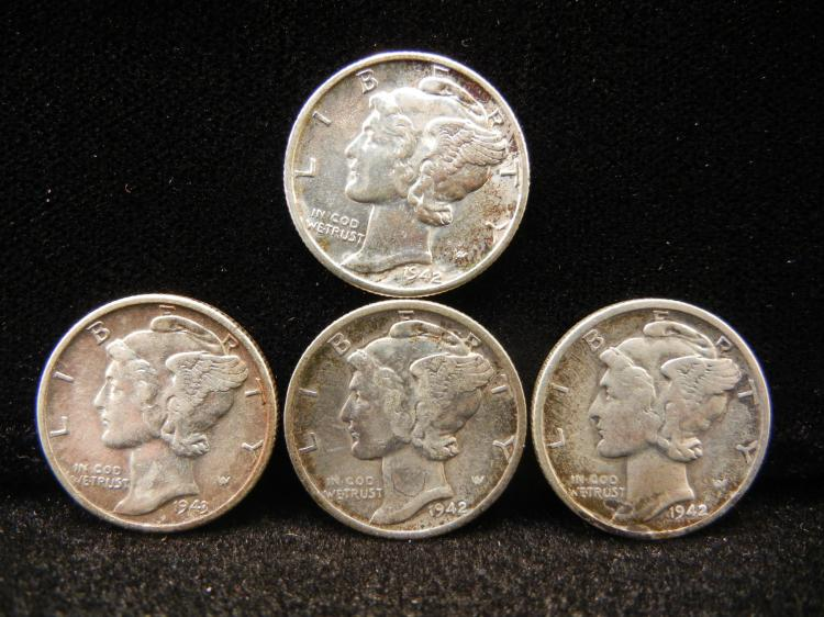 1942 P, D, & S And 1943 P Mercury Dimes