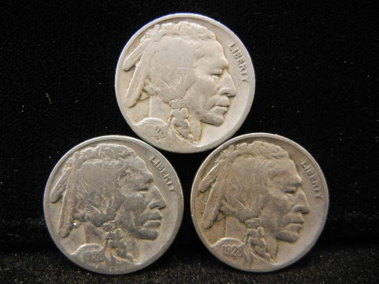1928 P, D, S Buffalo Nickels