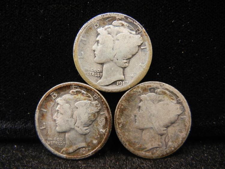 1917 P, D, & S Mercury Dimes
