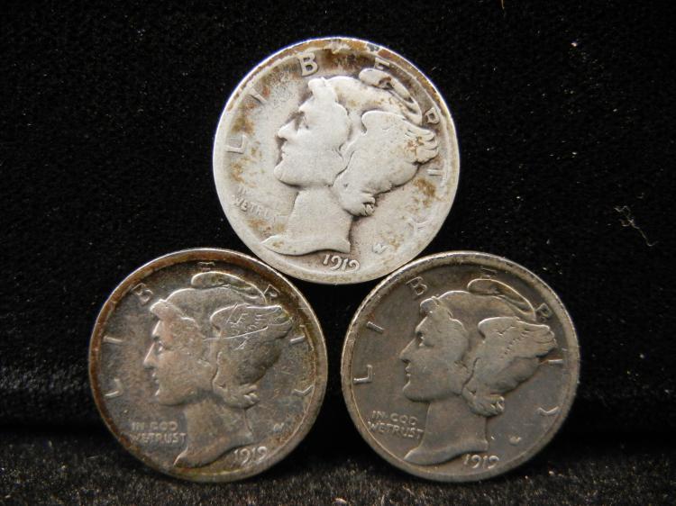 1919 P, D, & S Mercury Dimes