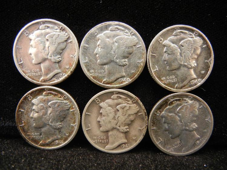 1940 & 1941 P,D, & S Mercury Dimes