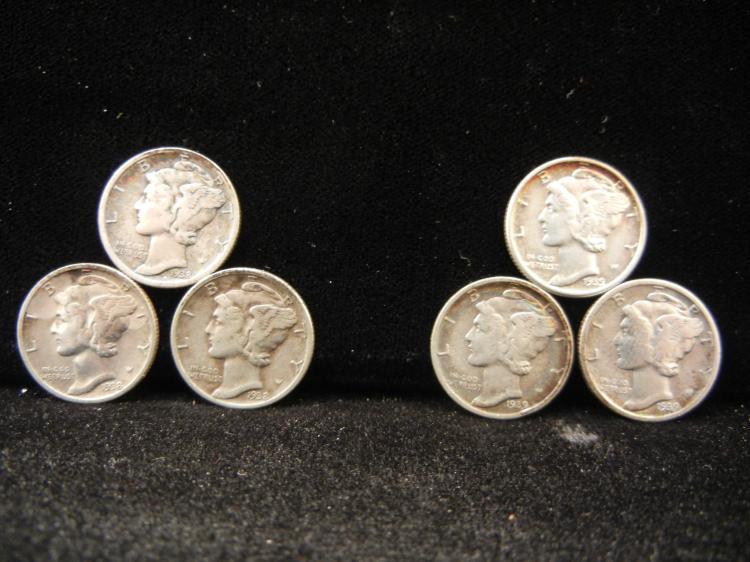 1938 & 1939 P, D, & S Mercury Dimes