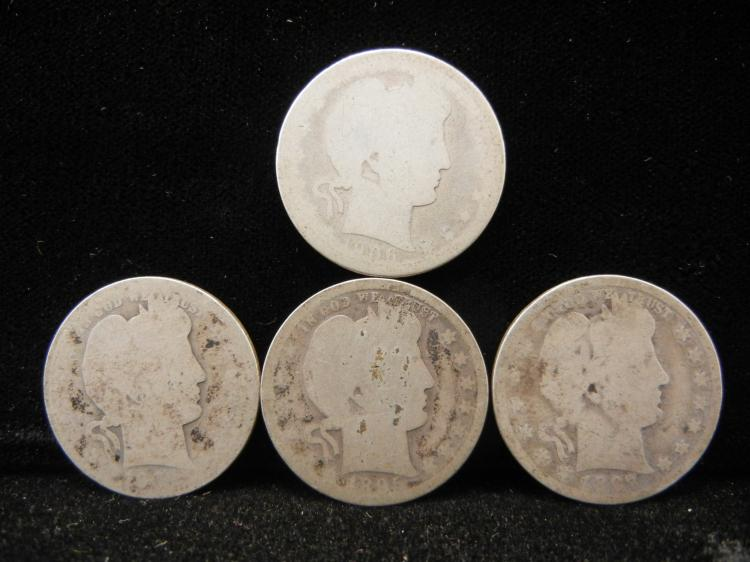 Four Barber Quarters 1906, 1895, 1897, 1904-O