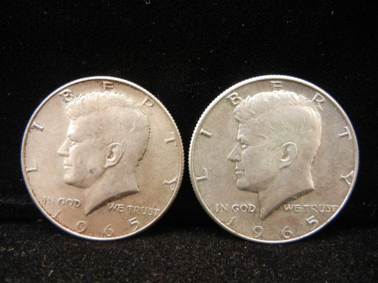 Two 1965 Kennedy Half Dollars 40% Silver