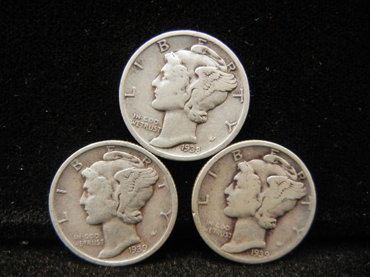 Three Mercury Dimes 1938-D & 1939-P & D