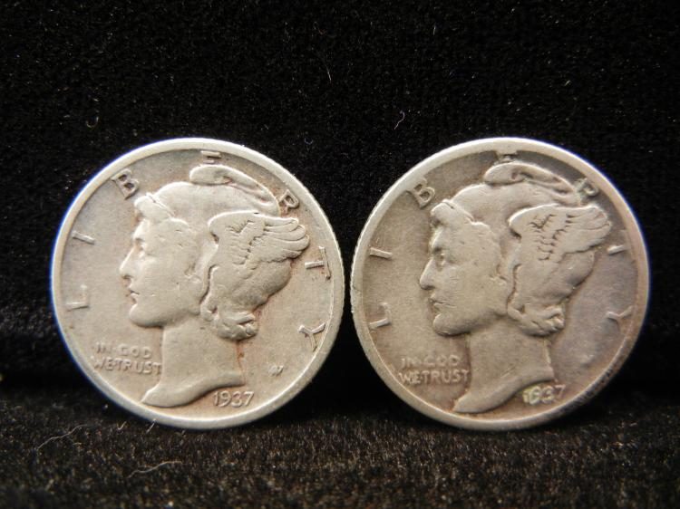 Two 1937 Mercury Dimes
