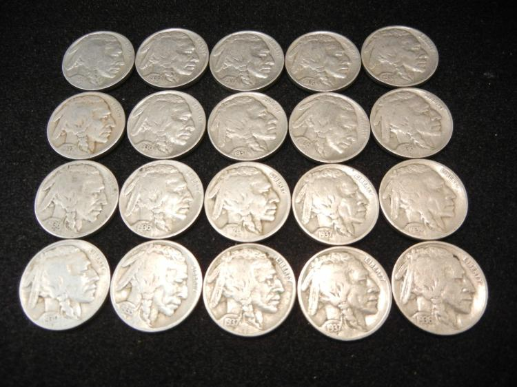 20 Buffalo Nickels Mixed Dates