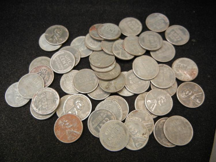 Lot of Steel Lincoln Wheat Cents - War Time Cents