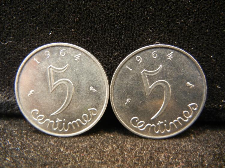 Two 1964 - 5 Centimes