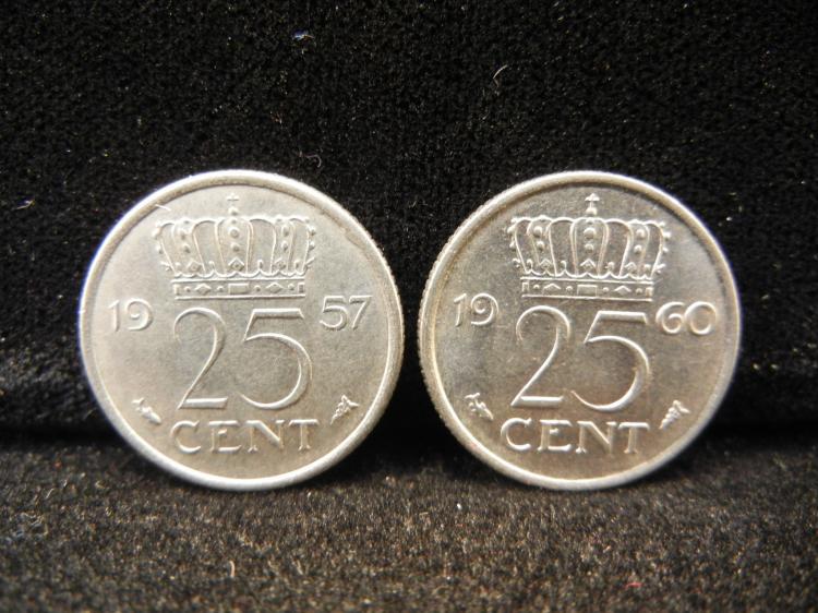 1957 & 1960 Nederlanden 25 cents
