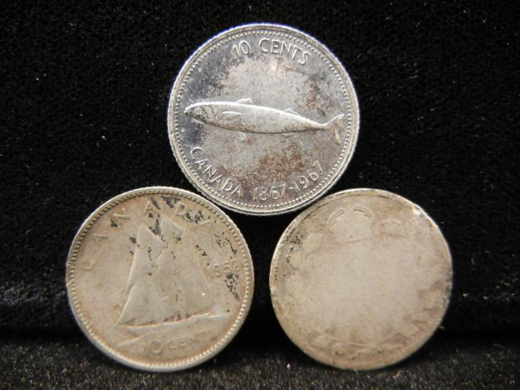 Three Canadian Dimes 1967, 1952, One w/o Date