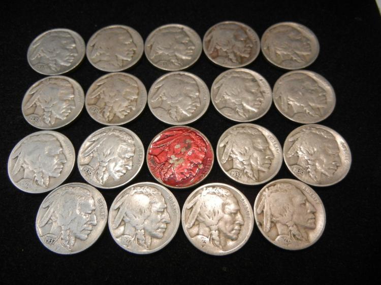 19 Buffalo Nickels Mixed Dates