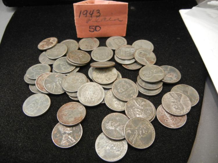 50 - 1943 Steel Lincoln Wheat Cents War time Cents
