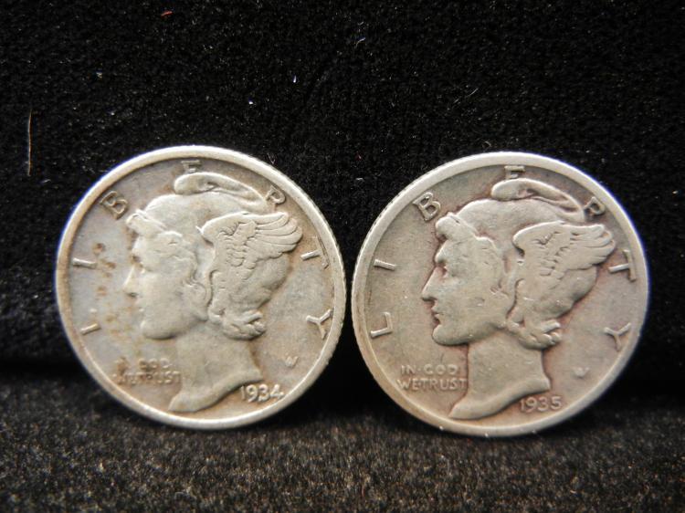 1934 & 1935-S Mercury Dimes