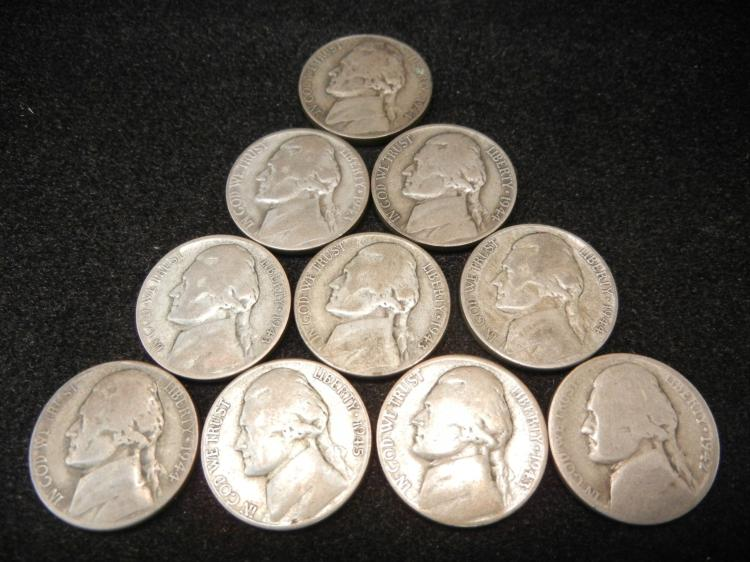 10 Silver Jefferson Nickels Mixed Dates