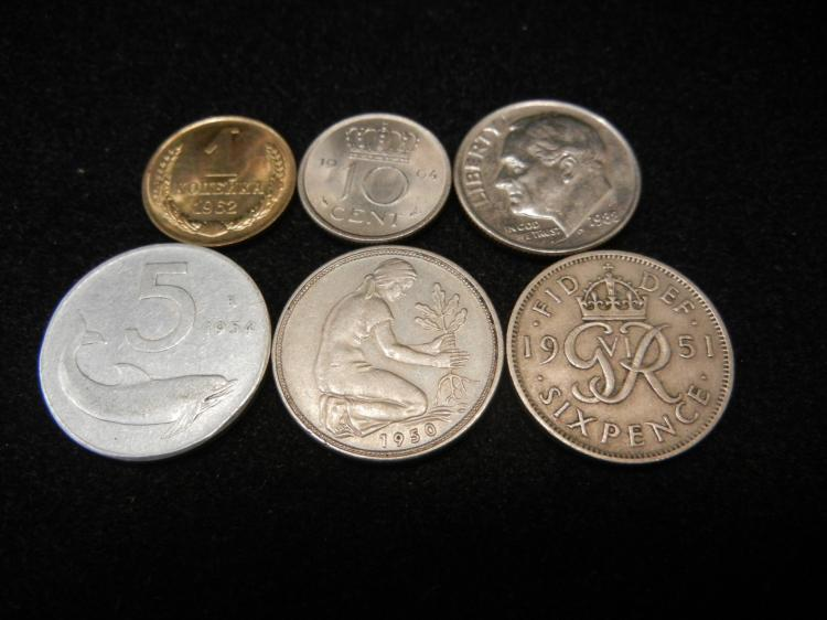 Five Foreign Coins 1951 Six Pence, and Others