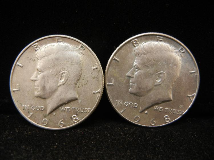 Two 1968-D Kennedy Half Dollars 40% silver