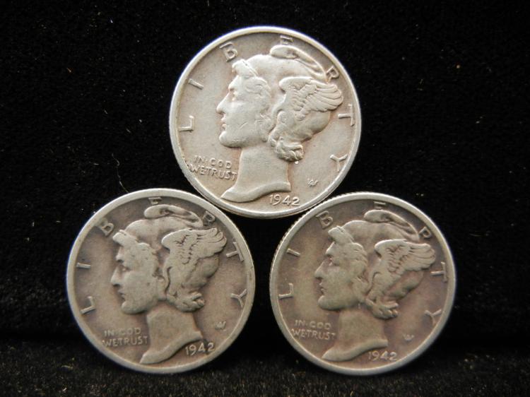 1942 P, D, & S Mercury Dimes